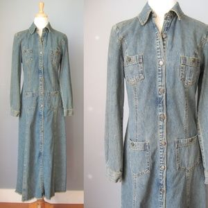 Newport News Fitted Denim Dress or Duster Blue